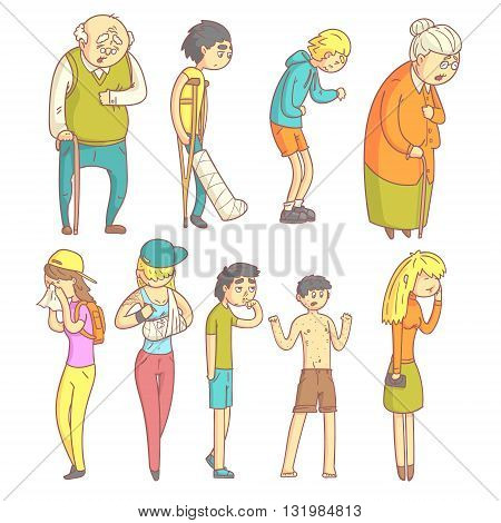 People With Different Illnesses Set Of Flat Outlined Pale Color Funny Drawings Isolated On White Background