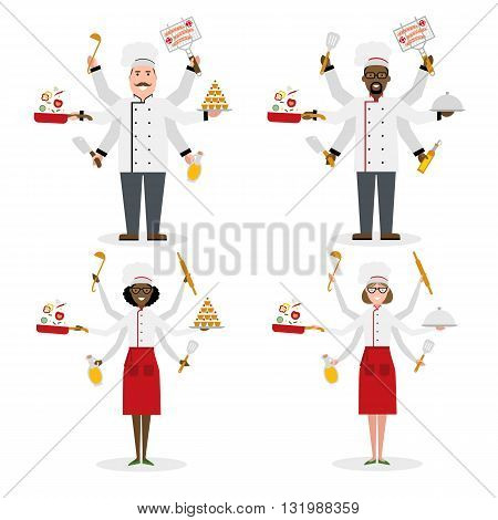 Multitasking chefs with six hands standing and holding a cake, ladle, paddle, pan with vegetabes, oil and rolling pin. Successful cook. Restaurant chef. African american and caucasian.