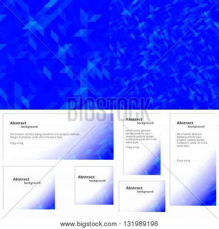 Abstract background for website design invitations cards. Plus a set of backgrounds for banners of different sizes in the same style.