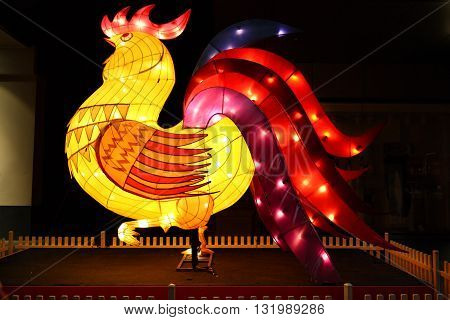 SYDNEY AUSTRALIA - 7 FEBRUARY 2016; The Rooster one of the Chinese zodiac signs on display in Pitt Street Mall for Chinese New Year Celebrations. The Rooster is the epitome of fidelity and punctuality. Other characteristics are bright communicative and am