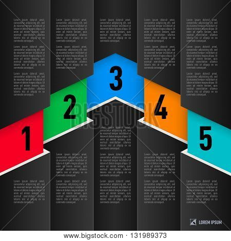 Infographics in paper style with black sheets and colored numbered items from one to five