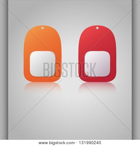 Colorful vector dogtags. Reflection banners. Name tags.