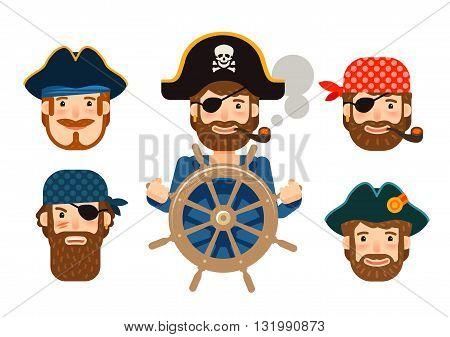Pirate at the helm of ship. Corsair. Funny sailor. Cartoon flat design