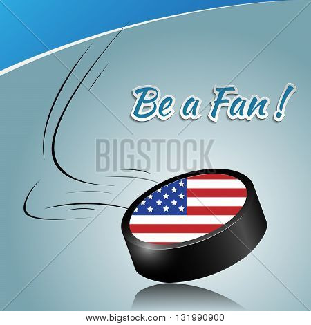 Ice hockey puck with a national flag. Vector puck element.