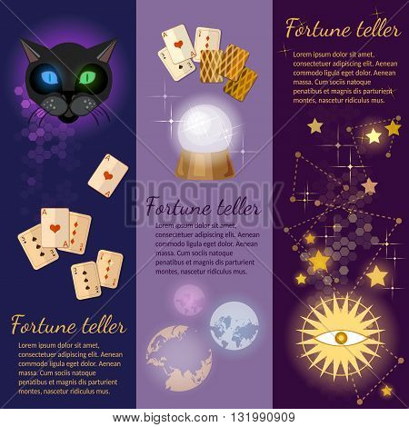 Astrology and alchemy banners magic fortune telling crystal ball vector illustration