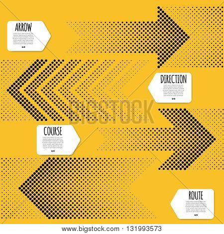 Raster dot direction arrow vector template/