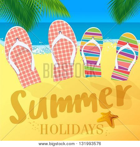 Flip-flops. Summer vacations vector mock up.