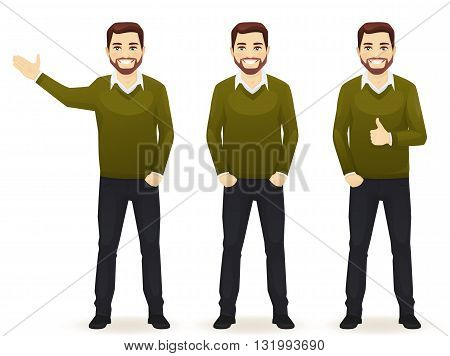 Set of standing business man in different poses wearing casual clothes isolated. Thumbing up showing and with hands in pocket.