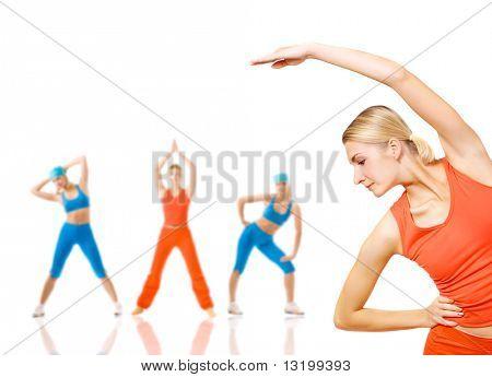Gruppe von Frauen Fitness Übungen, isolated on White. Viele Möglichkeiten, Ihren Text zu setzen