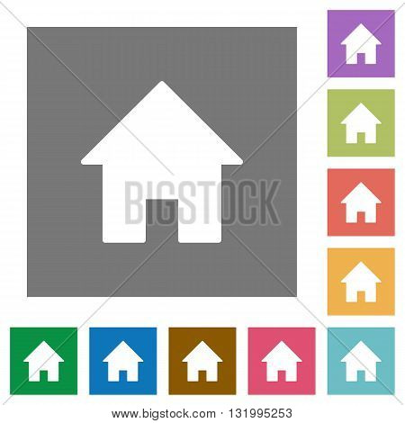 Home flat icon set on color square background.
