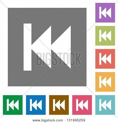 Media fast backward flat icon set on color square background.