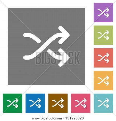 Media shuffle flat icon set on color square background.