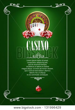 Casino Logo Poster Background or Flyer with Roulette Wheel, Playing Cards and Dice. Banner with Casino Logo Badges. Playing Casino Games. Casino Banner. Casino Games Gambling Template background.