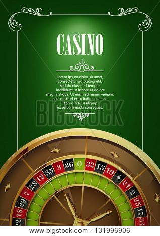 Casino Logo Poster Background or Flyer with Roulette Wheel. Banner with Casino Logo Badges on Green Canvas. Game Cards. Playing Casino Games. Casino Banner. Casino Games Gambling Template background.