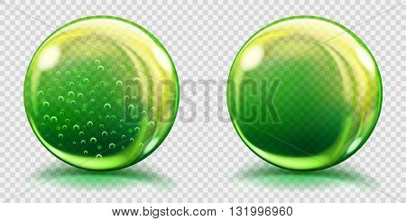 Big Green Glass Spheres With Air Bubbles And Without