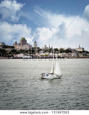 Quebec City, Canada - August 21: Quebec City Skyline Over River
