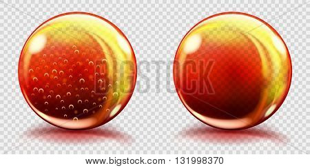 Big Orange Glass Spheres With Air Bubbles And Without