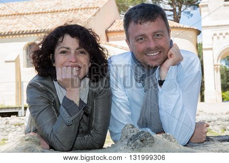 Tourists - Happy Couple In Historic Site, Having Fun During Travel.