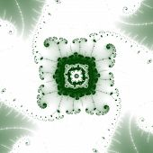 An elegant green octagonal fractal with beautiful lacy protuberances surrounded by four leaf shapes. poster