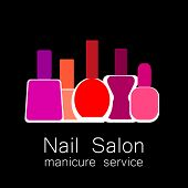 Nail Salon logo. Colorful nail polish on  black background. Design sign - nail care. Beauty industry, nail salon, manicure service, spa boutique, cosmetic products.  poster