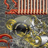 abstract industrial design steam punk retro mechanism poster