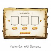 In-app purchase screen. Vector graphical user interface UI GUI for 2d video games. Wooden menu, panels and buttons for menu. poster