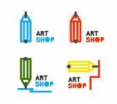 Pencil vector logo. Outline pencil vector icon. Stationery store pencil vector logo. Training courses pencil logo. Mentorship concept poster