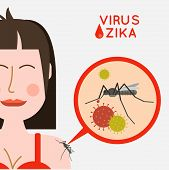 Virus zika vector illustration. Mosquito infected with zika virus infects a girl. Epidemic of zika virus. Risk of Contracting zika virus vector illustration. poster