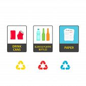 Stickers for recycling trash bins vector illustration isolated on white background recycle labels for waste bin can types recycling plastic glass bottles recycling metal cans paper info stickers poster