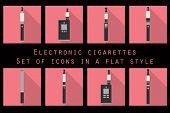 Electronic cigarette electronic cigarette flat icons e-cigarette icons types vaporizers smoking electronic cigarette set. poster