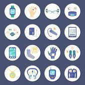 Smart Technology Round Icons Set. Wearable Technology Vector Illustration. Wearable Technology Gadgets Flat Symbols. Wearable Technology Gadgets Design Set. Wearable Technology Gadgets Isolated Set. poster