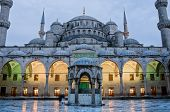 Sultan Ahmed Mosque known as the Blue Mosque at dusk in Istanbul. Turkey poster
