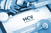 Diagnosis - HCV On Background of Medicaments Composition - Pills, Injections and Syringe. HCV - Medical Report with Composition of Medicaments - Pills, Injections and Syringe. 3D. poster