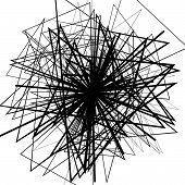 Random intersecting lines. Abstract monochrome geometric art. poster
