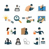 Crime criminal business robber thief cybercrime professional profession worker staff userpic avatar creative people icon set. Flat style hacker rogue swindler con cheat phony faker app icons. poster