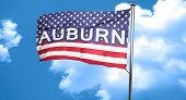 auburn, 3D rendering, city flag with stars and stripes poster