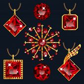 Set of realistic red jewels. Colorful red gemstones. Red rubies pendants isolated on gray background. Princess cut jewel. Round cut jewel. Emerald cut jewel. Oval cut jewel. Pear jewel . Heart jewel. poster