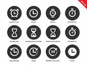 Time vector icons set. Icons for commerce shops. Different tine accessories, alarm clock, clock, watch, stopwatch, hourglass, timer. Isolated on white background poster