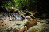 Jungle trekking on tropical island Koh Phangan in Thailand. Phaeng waterfall. poster