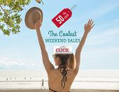 Promotion Discount haft Price Tag Campaign the last summer weekend concept. poster
