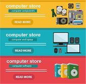 Flat design concept of computer store, sale of computers, laptops, components: motherboard, RAM, cooler, hard disk, cpu, video card and software and accessories poster