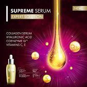 Coenzyme Q10 serum collagen essence gold drop. Skin care collagen hyaluronic moisture treatment. Golden drops design. Anti age coenzyme droplets solution. Package moisturizer cosmetics design. poster