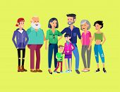 Set of big happy family character, Mom and Dad, grandparents, parents and children, brother and sister, son and daughter. Portrait of a big happy family. Vector family character poster