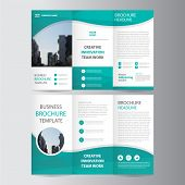 Green triangle business trifold Leaflet Brochure Flyer report template vector minimal flat design set, abstract presentation layout templates a4 size poster