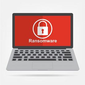 Computer laptop with ransomware malware virus key icon on red display background. Vector illustration technology data privacy and security concept.