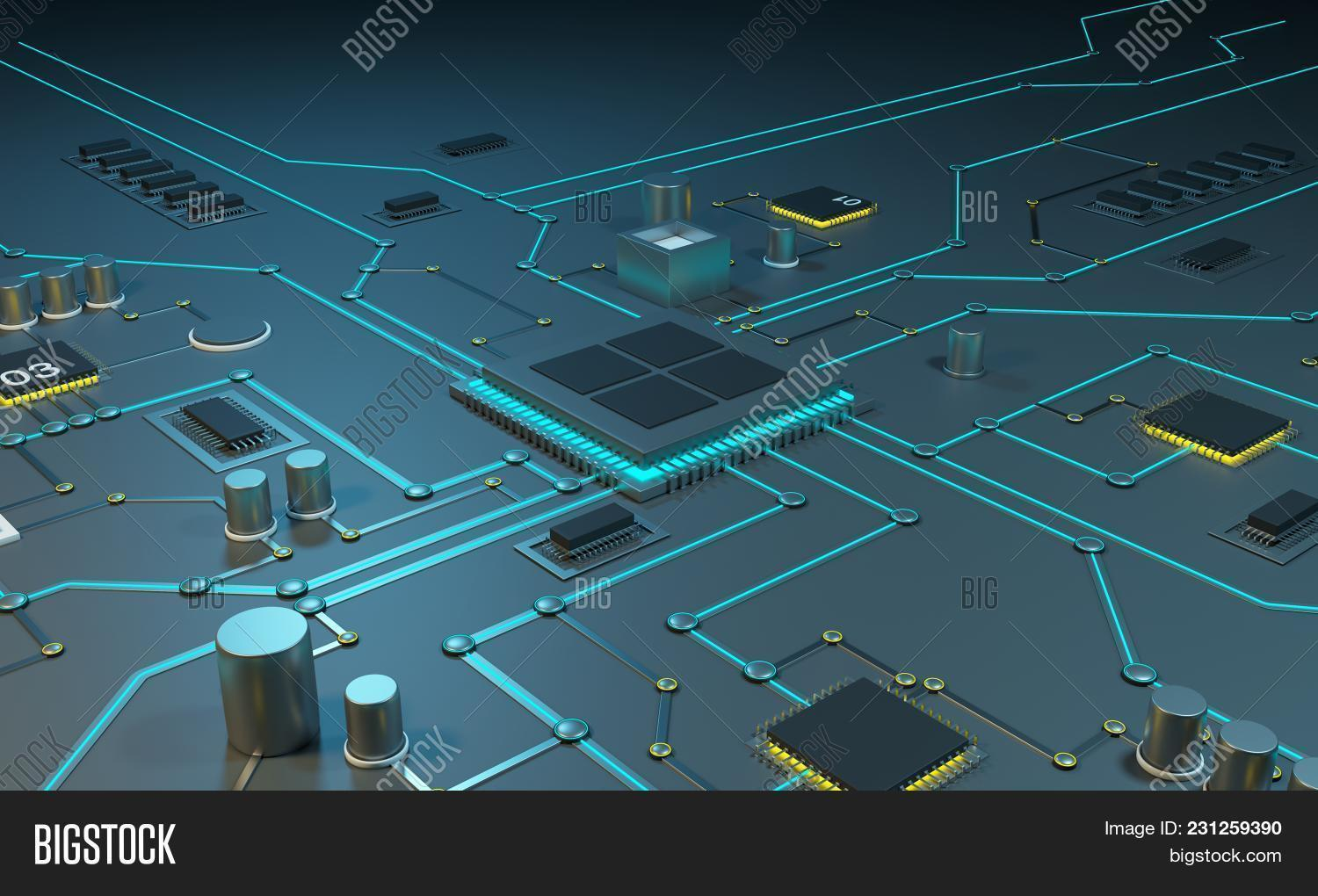 Multicore Processor On Image Photo Free Trial Bigstock Integrated Circuits Chips An Circuit Data Streams Neon Lines