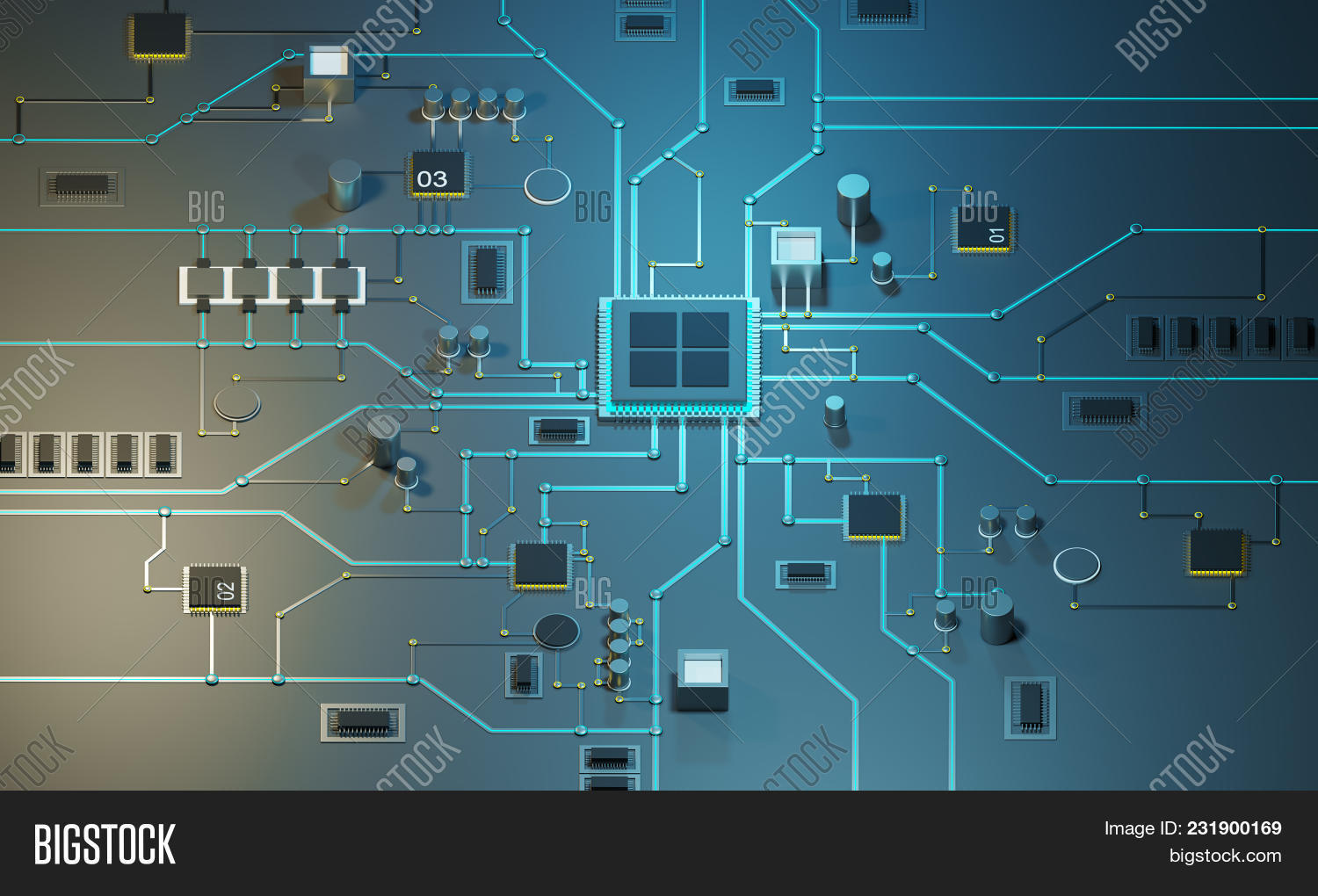 Multicore Processor On Image Photo Free Trial Bigstock An Integrated Circuit Data Streams Neon Lines Circuits