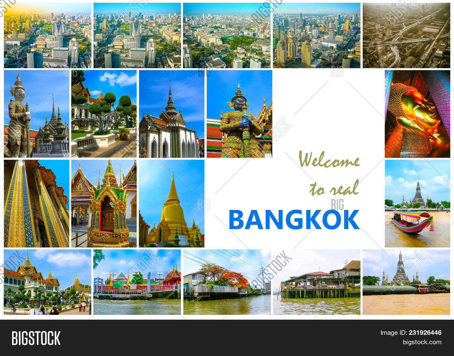 Collage Of Landmarks Bangkok Thailand Temples The Arial Panorama