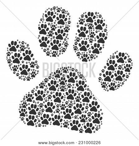 Paw Footprint Figure Constructed In The Combination Of Paw Footprint Icons. Vector Iconized Collage