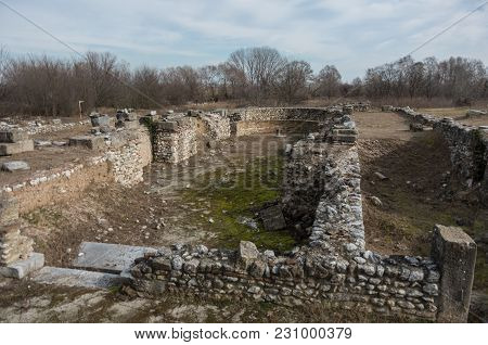 Ruins Of The Episcopal Basilica At Dion Archeological Site In Greece